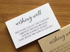 50 x WHITE Wishing Well Cards - Printed & Cut Wedding Invitations Invites Gift