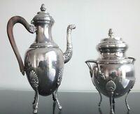 Ancienne théiere sucrier argenté poinçon Old teapot sugar silverplated empire