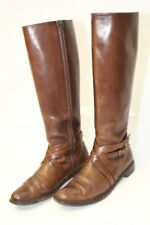 Cole Haan Womens 9 B Tall Patina Brown Natural Leather Harness Riding Boots hjz
