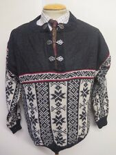 """Traditional Vintage Nordic Norwegian Pattern Clasp Neck Jumper Size S 36-38"""""""