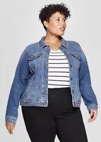 Ava & Viv 3X Denim Jacket Blue Jean Long Sleeve Women's Plus