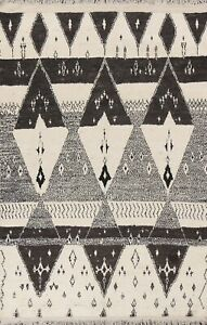Geometric Moroccan Oriental Area Rug Hand-knotted Wool 6x11 Ivory/ Black Carpet