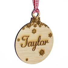 Personalised Wooden Christmas Tree Decoration. Baby Name Rustic Xmas Gift Bauble
