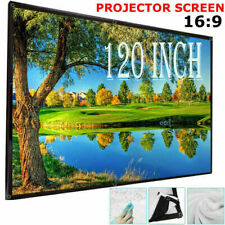 "Projector Projection Screen 16:9 3D HD Home Cinema Foldable Theater 120"" Inch"
