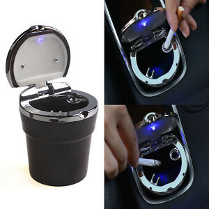 Car Ashtray Holder Cup with Lid Auto Cigarette Odor Remover with LED Detachable