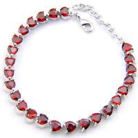 Heart Shaped Genuine Fire Red Garnet Gemstone Silver Charm Bracelet 8 Inch