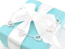 New Tiffany & Co Silver Peretti 5 Five Open Heart Necklace Short