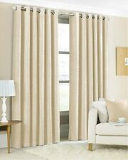 Luxury Faux Silk Fully Lined Curtains- 90''x90'' -228x228cm - Cream