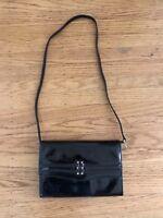 Vintage Portico d Italia black patent leather purse handbag Made in Italy