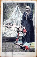 1911 French Postcard: Girl w/Doll & Old Woman, Children Sleeping in Bed