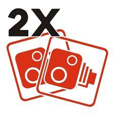 2X Car CCTV Camera Icon Tomato Red Car Van Taxi Window Bumper Sticker Dash Cam