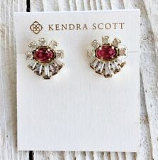 NWT Kendra Scott Atticus Stud Earrings In Ruby Red Berry Glass $110