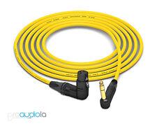 Mogami 2534 Quad Cable | Neutrik Gold 90º TRS to 90º XLR-F | Yellow 4 Feet 4 ft.