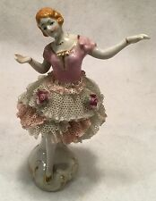 "c.1950s MIJ Dresden Style 5"" Tall Hand-Painted Porcelain Ballerina - JAPAN"