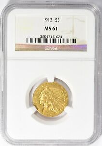 1912 Indian Gold Half Eagle NGC MS-61
