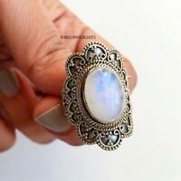 Rainbow Moonstone Ring Solid 925 Sterling Silver Ring Handmade Ring Size All EE1