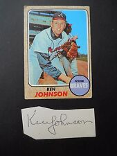 Ken Johnson Autograph on a piece of an index card - with Baseball card - Pitcher