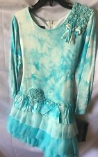 Isobella and Chloe Girls Turquoise Ruffled Drop Waist Dress Size 5-New