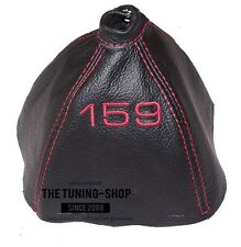 """For Alfa Romeo 159 05-11 Gear Gaiter Black Leather """"159"""" Red Embroidery"""