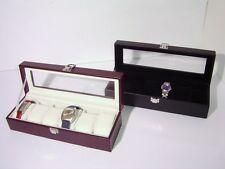 Cassetta con vetro per 6 orologi similpelle col.marrone ed interno velluto panna