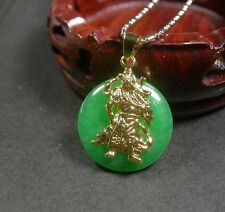 Gold Plate CHINESE Green JADE Pendant Circle Guan Gong God with chain 关公 252561