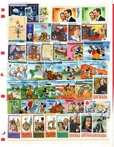 Grenada collection, two stock pages, WITH  Disney stamps, $4.00 stamp (4579