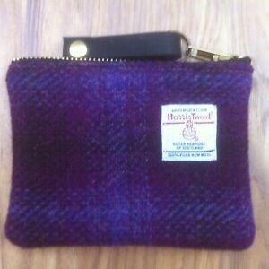 Emelia purple Harris tweed coin purse, tartan purse, plaid purse, gift for her