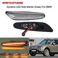 Sequential LED Side Markers Light Lamp For BMW E46 E61 E81 550i 530i Clear 2PCS