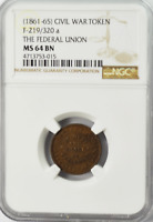 1861-65 Civil War Token F-219/320a The Federal Union NGC MS 64BN Army & Navy
