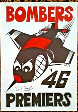 1946 BOMBERS ESSENDON Premiers WEG Poster signed DICK REYNOLDS