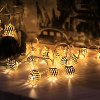 10LED Fata Striscia Luminosa Marocchino Forma a Sfera Dorato Lampadina Ferro LED