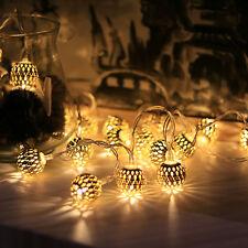 10led Iron LED Fairy String Light Moroccan Ball Shape Golden Lamp Warm White ABS