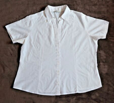 BA/01 Ladies White Top Short Sleeve Buttoned Office Work Formal Plus Size 18 VGC