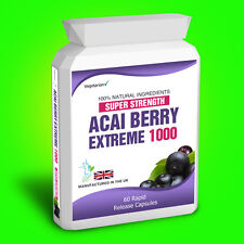 60 Acai Berry Extreme 1000 Pure Detox Dietary Aid Supplement Capsules