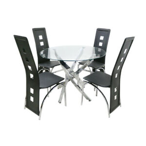 New Clear Round Glass Table Top Dining Table Set with 4 Black Chairs Dining Room