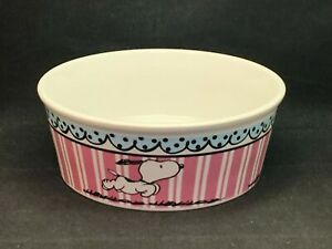 """Snoopy Pink & Blue Pet Bowl 5"""" Stoneware Food Water Dish By Gibson"""