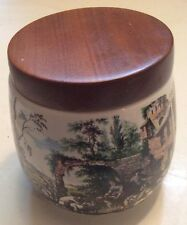 "Alfred Dunhill Vintage Ceramic  5 1/4 x 4"" Tobacco Humidor Jar w/ Country Scene"