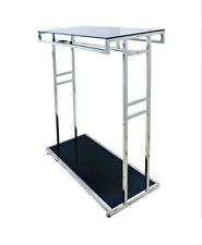 Chrome Black Glass Top Shelves Retail Shop Display Clothing Rail Hanger Stand