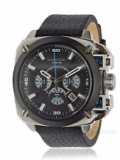 NEW MENS DIESEL (DZ7345) BAMF BLACK LEATHER STRAP SILVER TONE DIAL WATCH