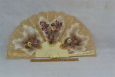 antique hand fan hand painted pink flowers lace white celluloid vintage