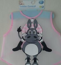 Easy wipe Bib / Coverall for Baby, or Toddler   Pink Jockey with Donkey (Pink)
