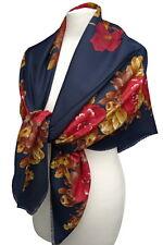 großes Damen Tuch mit Rosen Blumen Fransen rot braun dunkel blau Schal 903 b