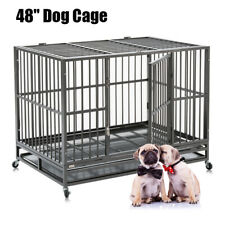 """48"""" Heavy Duty Dog Cage Crate Kennel Pet Playpen Metal w/ Tray & Wheels Portable"""