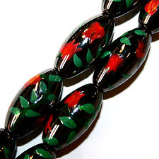 "MAGNETIC HEMATITE PAINTED BEADS OVAL ORANGE TULIP 8X16M 16"" BEAD STRANDS CP7"