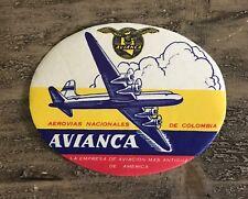 Avianca De Columbia Airways Vintage Aviation Passenger Baggage Label