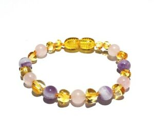 Child Tara Amethyst Purple Rose Quartz Gemstone Baltic Love Amber Bead Anklet UK