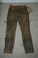 Damen Motorrad Schnür-Lederhose Gr. 42 oder 44,Vintage Antik-Braun Hein Gericke