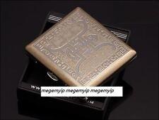 Vintage Retro Slim Copper Chinese Buddha Word Wiredrawing Cigarette Case Box
