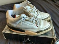 Nike Air Jordan 3 Retro White Cement Fire Red Mens Size 10 #136064 105 Used