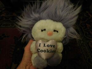 Vtg Plush FROU FROU White Purple Hair Doll I Love Cookies Satin Heart Dakin FUN!